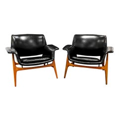 Gianfranco Frattini Pair of Sculptural Lounge Chairs, 1956