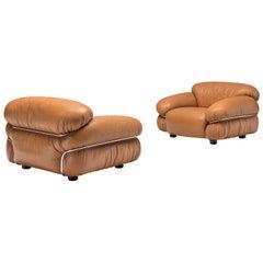Gianfranco Frattini Pair of 'Sesann' Lounge Chairs in Original Cognac Leather