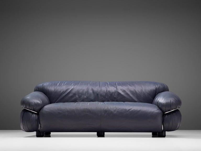 Mid-Century Modern Gianfranco Frattini Pair of 'Sesann' Sofas in Blue Leather For Sale