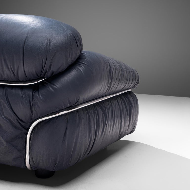 Italian Gianfranco Frattini Pair of 'Sesann' Sofas in Blue Leather For Sale