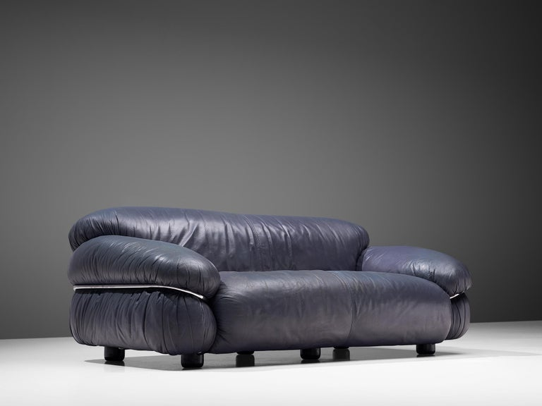 Mid-20th Century Gianfranco Frattini Pair of 'Sesann' Sofas in Blue Leather For Sale