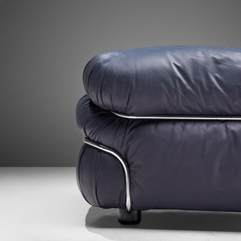 Metal Gianfranco Frattini Pair of 'Sesann' Sofas in Blue Leather For Sale