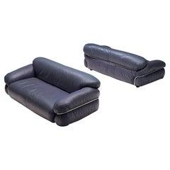 Gianfranco Frattini 'Sesann' Sofas in Blue Leather