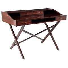 Gianfranco Frattini Rosewood Desk with Metal Details, circa 1950