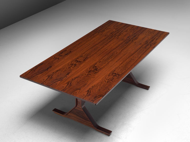 Gianfranco Frattini Rosewood Table, circa 1960s In Good Condition For Sale In Waalwijk, NL