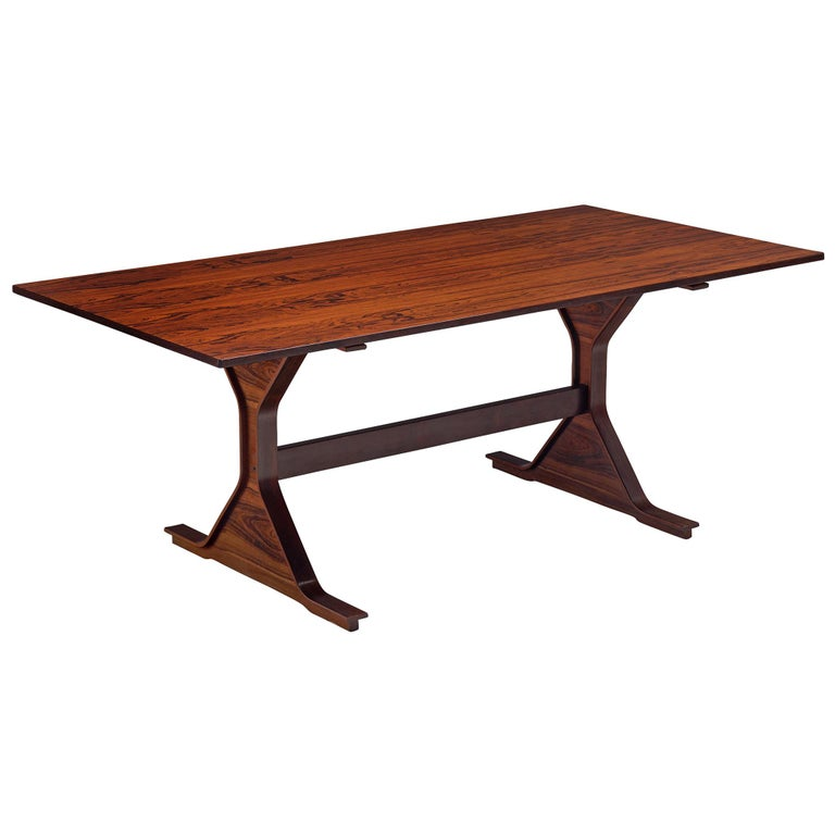 Gianfranco Frattini Rosewood Table, circa 1960s For Sale
