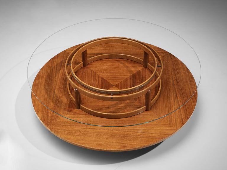 Italian Gianfranco Frattini Round Coffee Table in Walnut and Glass For Sale