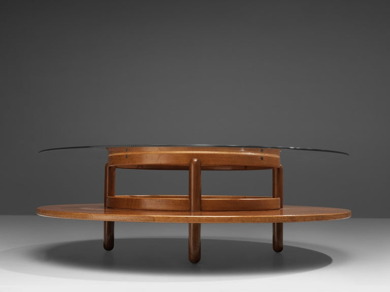 Gianfranco Frattini Round Coffee Table in Walnut and Glass In Good Condition For Sale In Waalwijk, NL