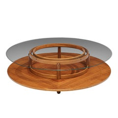Gianfranco Frattini Round Coffee Table in Walnut and Glass