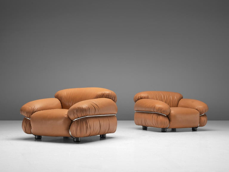 Italian Gianfranco Frattini 'Sesann' Livingroom Set in Original Cognac Leather For Sale