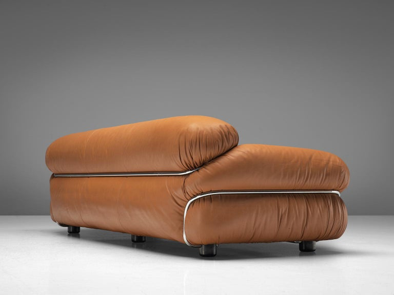 Mid-20th Century Gianfranco Frattini 'Sesann' Livingroom Set in Original Cognac Leather For Sale