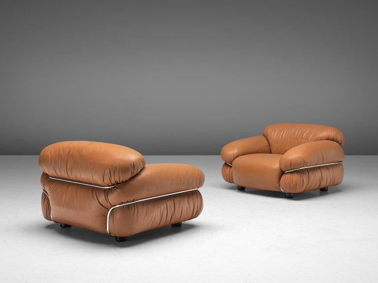 Gianfranco Frattini 'Sesann' Livingroom Set in Original Cognac Leather For Sale 1