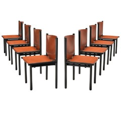 Gianfranco Frattini Set of Eight 'Caprile' Dining Chairs in Red Leather