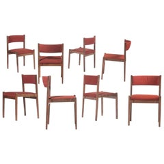 Gianfranco Frattini Set of Eight Red Chairs Model 105 for Cassina, 1950