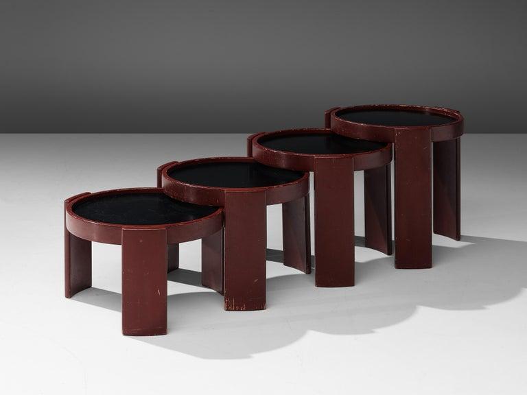 Italian Gianfranco Frattini Set of Four '780' Nesting Tables