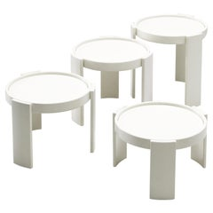 Gianfranco Frattini Set of White '780' Nesting Tables
