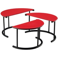 Gianfranco Frattini 'Tria' Nesting Tables in Red