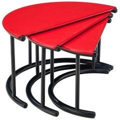 Gianfranco Frattini 'Tria' Nesting Tables in Red