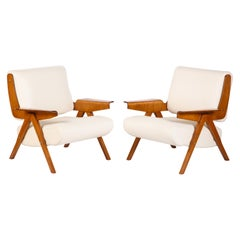 Gianfranco Frattini#831 Lounge Chairs in White Leather for Cassina, Italy, 1950s