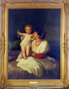 "Large 19th Century Portrait Oil Painting by G. Girroti Entitled ""Mother & Child"""