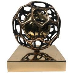 "Gianfranco Meggiato Bronze Kinetic Sculpture 2007 ""Doppia Sfera Nucleo"""