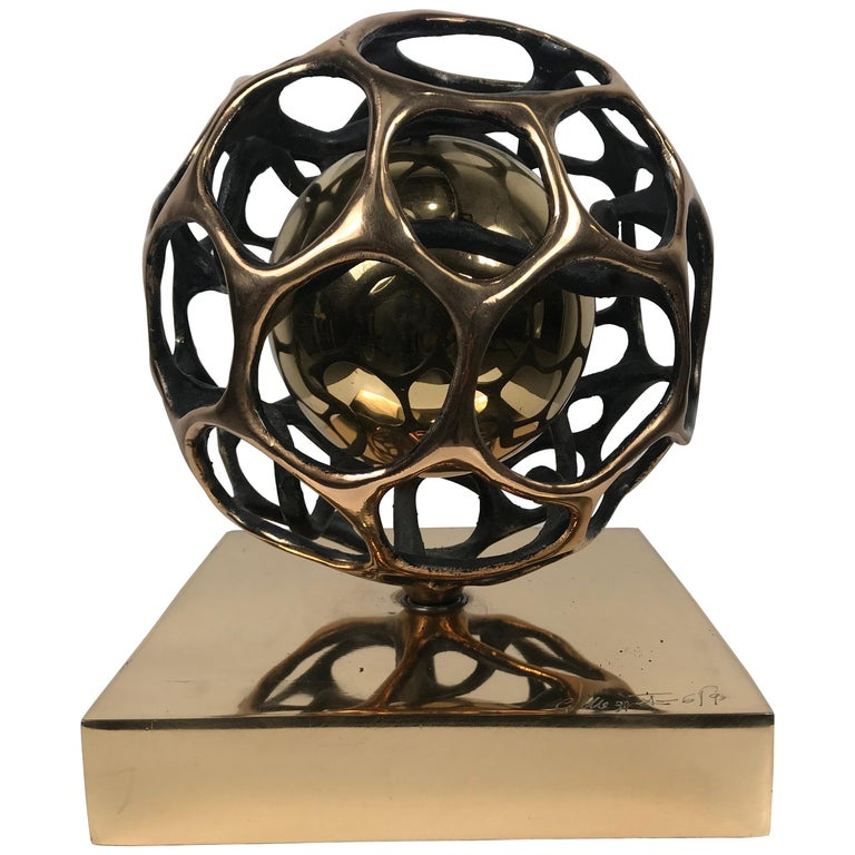 "Gianfranco Meggiato Bronze Kinetic Sculpture 2007 ""Doppia Sfera Nucleo"" For Sale"
