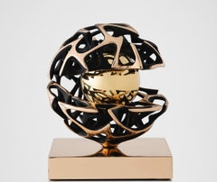 "Magnificent Golden Kinetic Bronze Sculpture ""Conosscenza"" from Italy"
