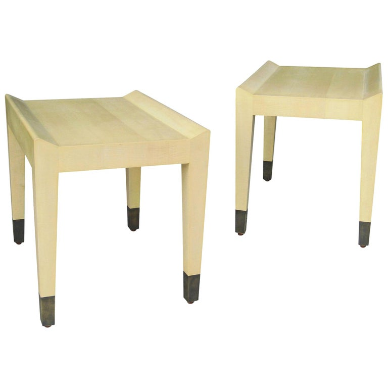 Gianfranco Quilted Sycamore Side Tables with Bronze Sabots from Costantini For Sale