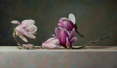 Contemporary white and pink Magnolias flower still life oil painting, by Corona