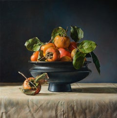 Persimmons fruit still life, orange and black italian contemporary oil painting