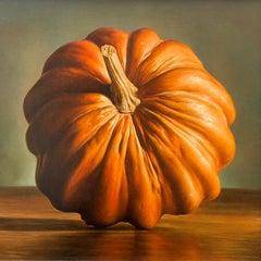 Orange Pumpkin oil on board Italian contemporary painter Gianluca Corona