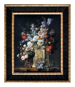 BOUQUET OF FLOWERS ON A COLUMN - Gianluca d'Este Italian oil on canvas painting
