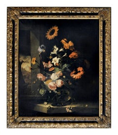 FLOWERS-In the Manner of Jacob van Wascapelle -Italian Still Life Oil on Canvas