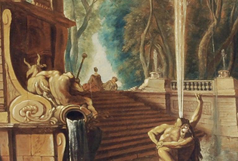 Italian Garden - Gianluca D'Este Italian Oil on Canvas Painting For Sale 2