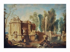 Italian Garden - Gianluca D'Este Italian Oil on Canvas Painting