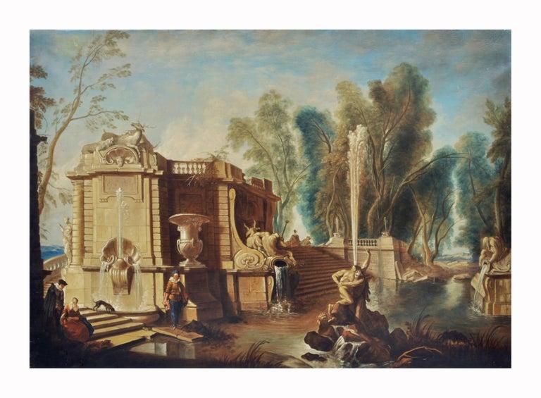 Italian Garden - Gianluca D'Este Italian Oil on Canvas Painting - Gray Landscape Painting by Gianluca D'Este