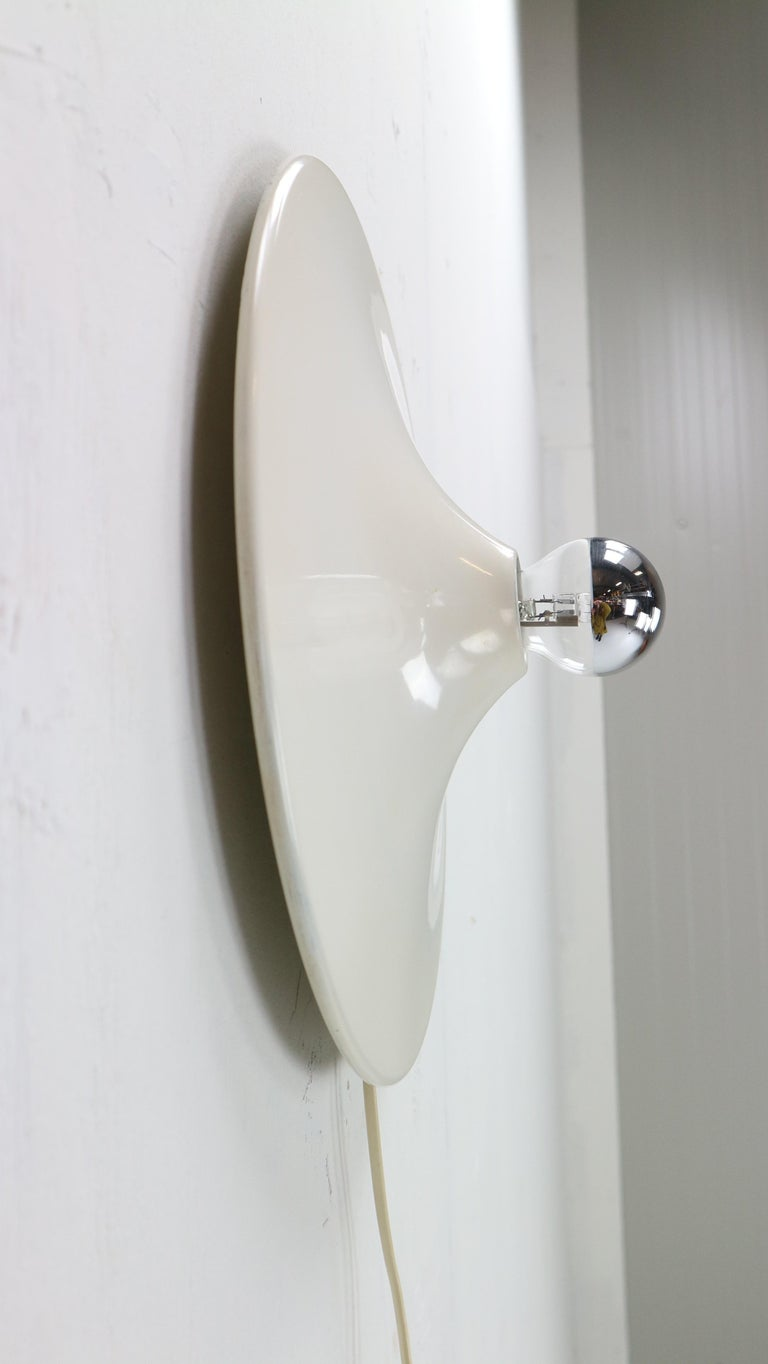 Gianluigi Gorgoni Model Disco Wall or Ceiling White Lamp for Stilnovo, 1970 For Sale 1