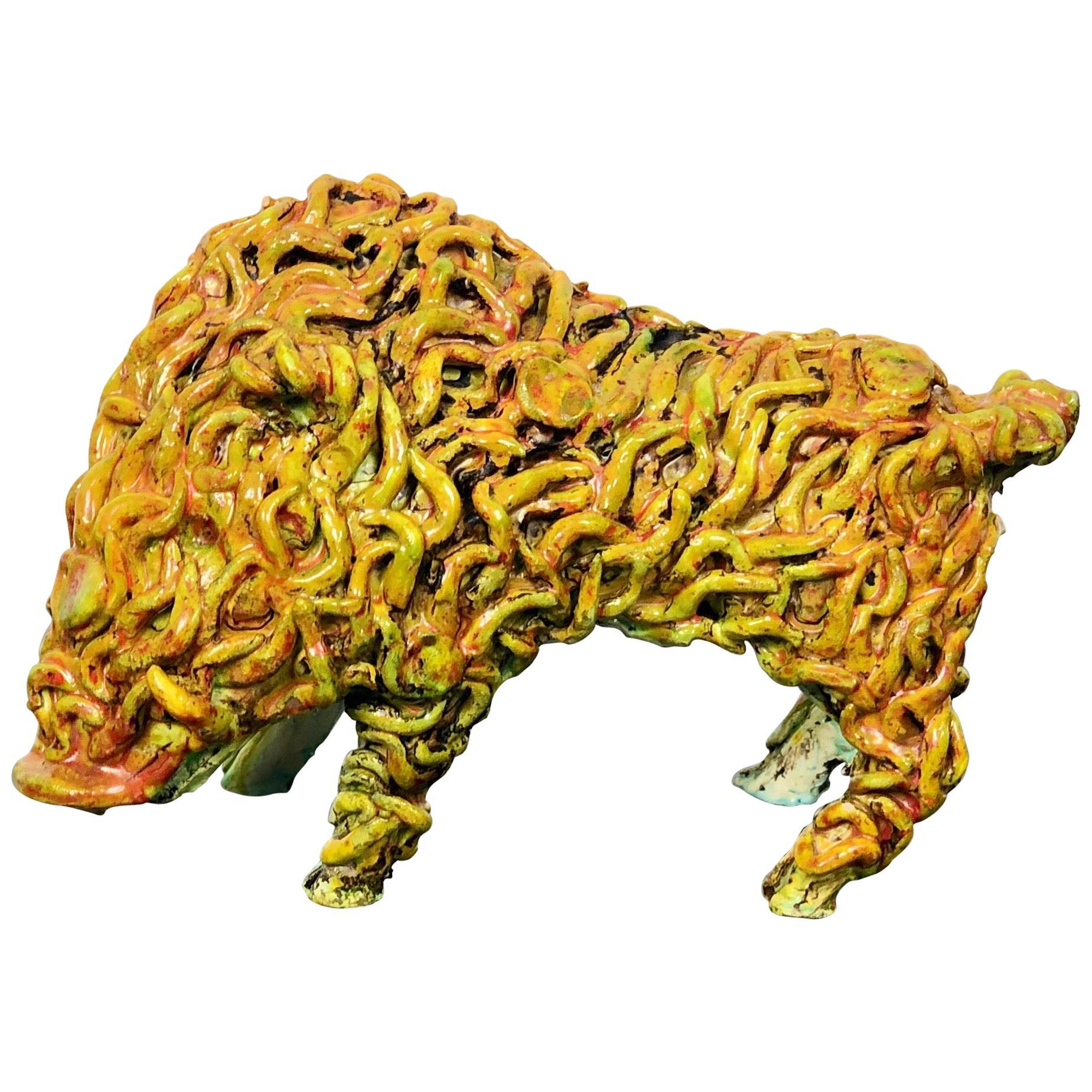 Gianluigi Mele Ceramic Boar Animal Sculpture, Italy, Sardinia, 1970s