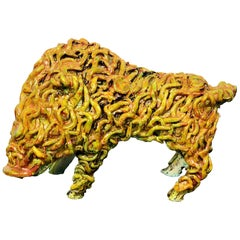 Gianluigi Mele Ceramic Boar Animal Sculpture, Italy, Sardinia, 1970s