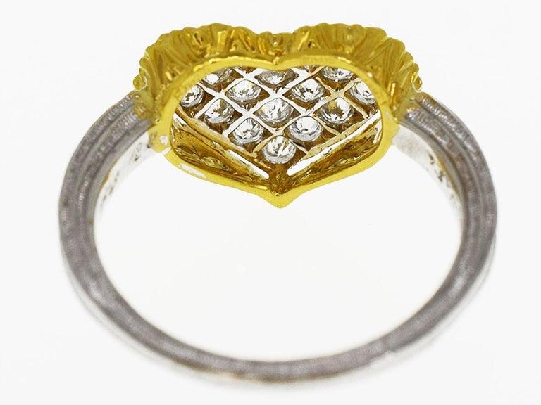 Gianmaria Buccellati 18 Karat Yellow Gold Heart Design Diamonds Ring In Good Condition For Sale In Tokyo, JP