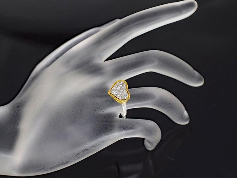 Gianmaria Buccellati 18 Karat Yellow Gold Heart Design Diamonds Ring For Sale 5