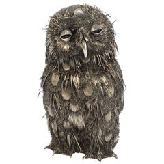 Gianmaria Buccellati 800 Silver Sculpture of a Fledgling or Baby Owl