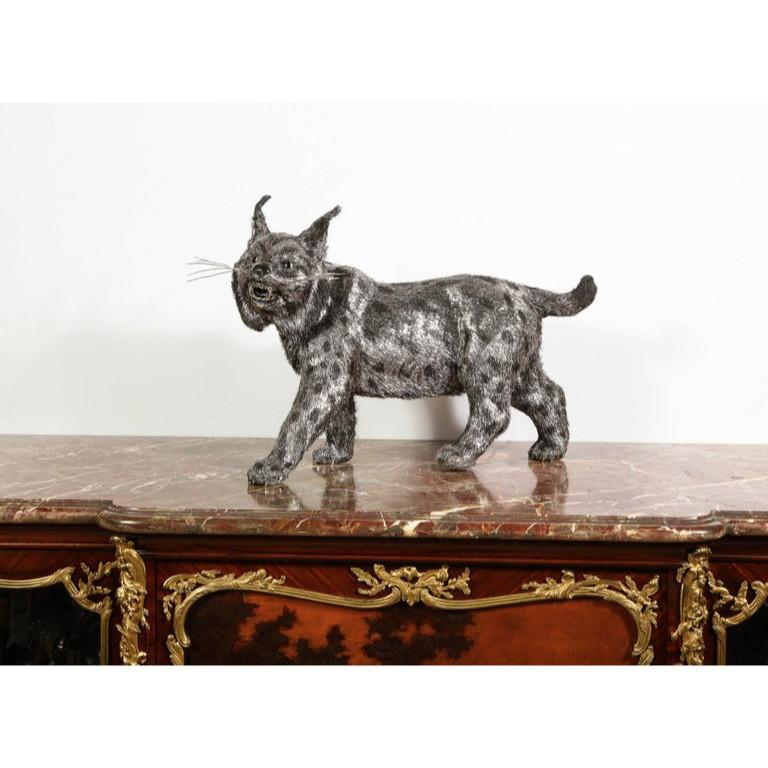 Gianmaria Buccellati, a Rare and Exceptional Italian Silver Bobcat In Good Condition For Sale In New York, NY