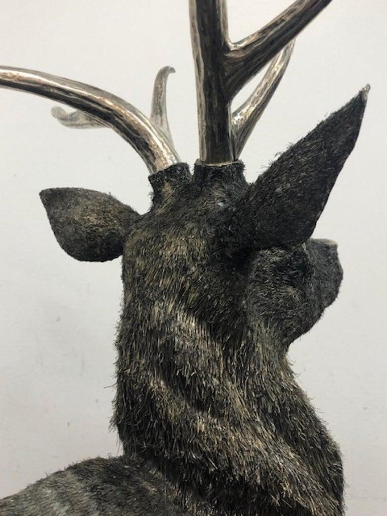 Gianmaria Buccellati, a Rare and Exceptional Italian Silver Deer Stag For Sale 11
