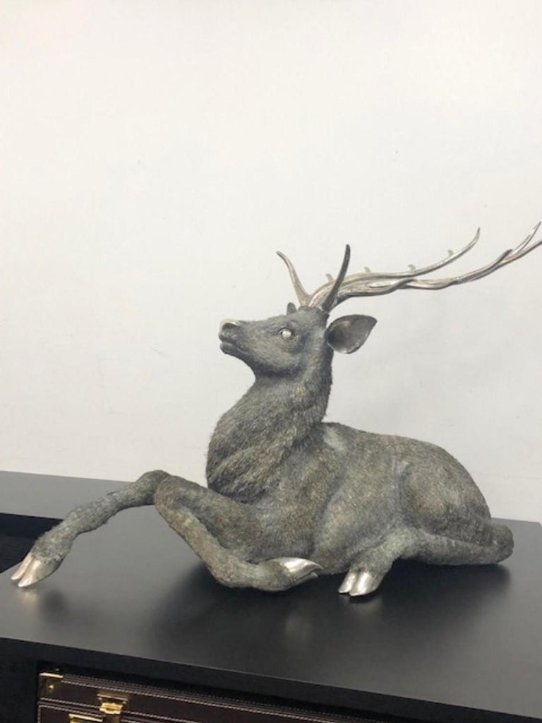 20th Century Gianmaria Buccellati, a Rare and Exceptional Italian Silver Deer Stag For Sale