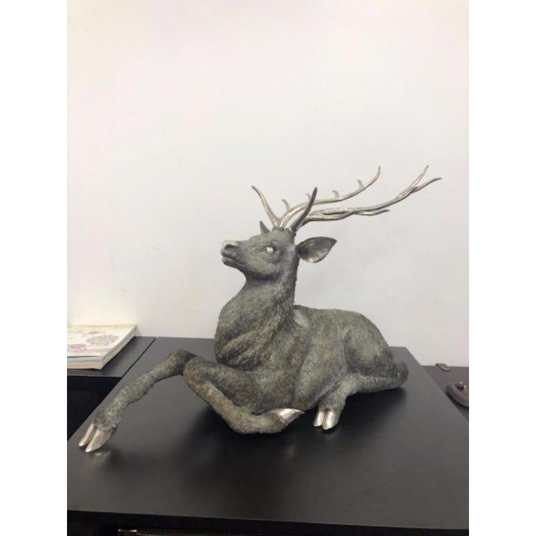 Gianmaria Buccellati, a Rare and Exceptional Italian Silver Deer Stag For Sale 1