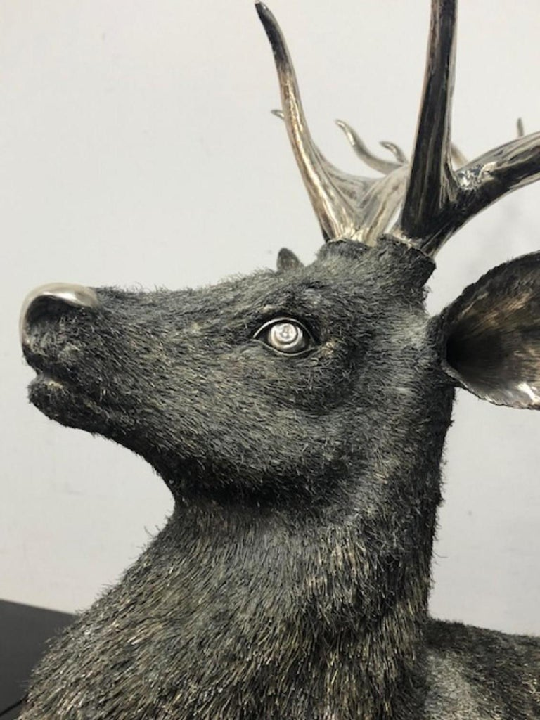 Gianmaria Buccellati, a Rare and Exceptional Italian Silver Deer Stag For Sale 2