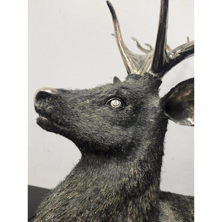 Gianmaria Buccellati, a Rare and Exceptional Italian Silver Deer Stag For Sale 4