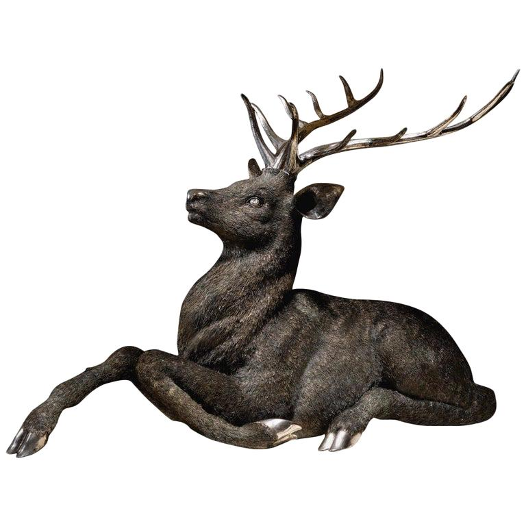 Gianmaria Buccellati, a Rare and Exceptional Italian Silver Deer Stag For Sale