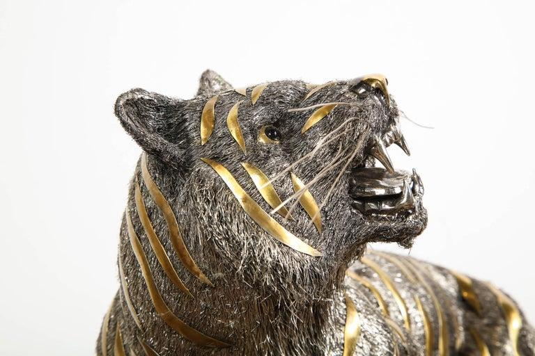 Gianmaria Buccellati, a Rare and Exceptional Italian Silver Striped Tiger For Sale 6